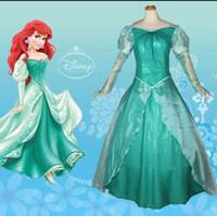 al por mayor vestido azul ariel-Nueva sirena Ariel Princesa Ariel Vestido Cosplay Traje Adult Mermaid Mujeres para Adultos Niñas Sexy Azul Verde Accesorios