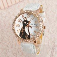 achat en gros de heures de sexe-Fashion Sex Kitty Montre Femme Quartz strass Les bracelets en cuir Heures Femme Montre habillée relogio feminino HY1005