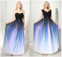 Evening Dresses discount occasion dresses - Best Selling Gradient A Line Floor Length Chiffon Elegant Prom Dresses Pleats Discount Prom Gowns Formal Evening Dresses