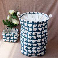 bear baskets - New Pc Waterproof Canvas Beam Port Laundry Basket Tree Bear Pattern Cotton Linen Washing Clothes Storage Basket