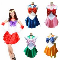 Wholesale Cute Sailor Costumes For Women - Wholesale-Pretty Soldier Sailor Moon Anime Tsukino Usagi Cosplay Costume For Women Halloween Cosplay Clothing Cute Girls Lolita Dress