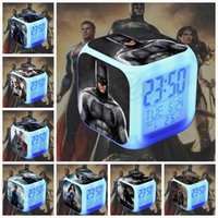 Wholesale 15 design LJJK129 Color Change Glowing Colorful Digital LED Desk Alarm Clock Movie Character batman Hottoys HT BVS Alarm Clock