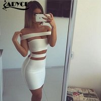 Wholesale 2016 women white black olive colourful off shoulder cut out bandage dress sexy women dress Khloe Kardashian dress dropshipping