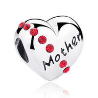 Wholesale 925 Sterling Silver Charm Beads Mother Floating Heart Charm Red CZ fit Pandora Bangles Bracelets High Quality Jewelry Family Gift C018