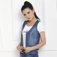 Wholesale Newest style women jeans vest with fading shoulder