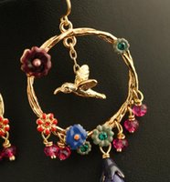 Wholesale Bird Flower Golden Enamel Ear Loop Pink Crystal Green Diamond Ear Loop Golden Round Circle Earring