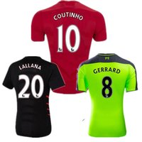 Wholesale 2016 Soccer Jersey Green Gerrard Coutinho Henderson Mane Milner Sturridge football shirts Red Kit Futball Trikot football uniform