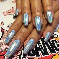 Wholesale 2g box laser silver Shinning Mirror Nail Glitter Powder Gorgeous Nail Art Chrome Pigment Glitters Dust Nail Art Decorations