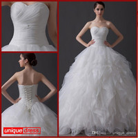 Wholesale 2016 Wedding dresses Tiered Organza Wedding Gown Vintage Ruffles Lace Up Sweetheart High Quality new