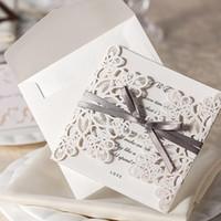 Wholesale Wedding Invitations Laser Cut Customizable Hollow Crystal Lace Bow Ribbon Wedding Invitation Cards WT01