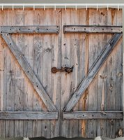 Wholesale RUSTIC WOODEN GARAGE BARN DOOR GATE BOARDS COUNTRY Shower Curtain