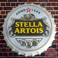 aluminum round bars - Round Stella Artois Tin Signs Retro Metal Art Poster Drink Beer Cap Bar Pub Wall Decor cm RM
