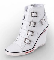 ash sneakers women - Hot Products ASH Ankle Boots Shoes Thelma Bis Wedge Sneakers White Leather On Hot Sale High Top Tide Women Shoes Size
