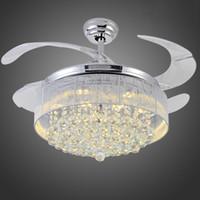 Wholesale 36 Inches Led Ceiling Fans Light V V Invisible Blades Ceiling Fans Modern Fan Lamp European Chandelier Ceiling Light