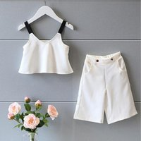 Cheap new 2016 Summer Girls Clothing Set Fashion white sling Tank Tops+Wide Loose Leg Pants Suit Kids Clothes Set for Girls