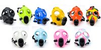 Cheap Wholesale DHL Silicon Mask Luminous Solid Colored Mask Mixed Colored Mask Party Gas Mask For Bong Dab Rig Filter 125