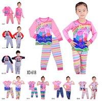 peppa pig clothing - 2016 Kids Clothing Set Peppa Cartoon Pig Sleeping Suits Styles Boys Girls Cartoon Pajamas Set Pyjamas Kids Clothes