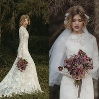ads images - Country Style Fitted Lace Wedding Dresses Modest Jewel Neck Fit ad Flare Court Train Long Sleeve Chloe Moretz Bridal Gowns