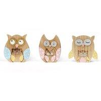 Acheter Maisons en rondins de bois-2016 nouveau matriochka owl décoration 3Réglez / lot hulotte décoration poupées journal artisanat décoration 14 * 11 * 2cm décor de fête fournitures