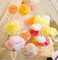 balls paper decorations - 1pcs inch cm pompon Tissue Paper Pom Poms Flower Kissing Balls Home Decoration Festive Party Supplies Wedding Favors