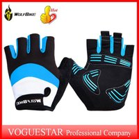 Wholesale Wolfbike Breathable waterproof Gloves bike D GEL Anti slip for Mountain Road Cycling Anti shock Half Finger Bicycle Gloves OUT038