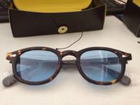 achat en gros de lunettes de soleil rétro pour les hommes-Lunettes de soleil vintage rétro Johnny tortue et noir avec Lunettes de soleil rondes lunettes de soleil bleu lunettes lunettes cadre cadre de mode neuve