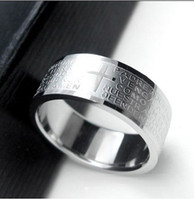 bible boxes - Sale by bulk box Titanium steel Ring Bible carving unisex mix size and high quality