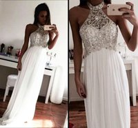 aline prom dress - Halter White Aline Beading Prom Dresses Backless Chiffon Long Prom Dresses Custom Made Sweet Dresses