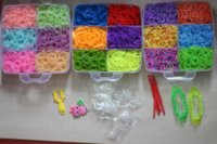 Cheap Colorful Gifts 5400 pcs fun rubber loom bands box set make rubber band dIY loom charms bracelet silicone kit refill