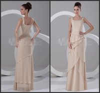 aline bridesmaid dresses - Long Formal Dress Square Neck Sleeveless Chiffon Bridesmaid Dress Cheap Evening Gowns Tiered Dress Fashion Design Aline Style Vintage