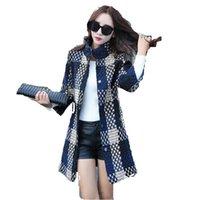Wholesale European Women cloth Coat New Autumn Winter Big yards Wool plaid Coat Slim Fashion Wool Coat High quality Wool Coat A0114