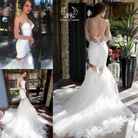 Wholesale New Sexy Designer Detachable Skirt Mermaid Wedding Dresses Vintage Lace Trumpet Sexy Backless Pearls Misses Court Train Bridal Gowns