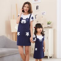Wholesale 2016 Mickey Mother Daughter Dress Mom and Baby Two Piece Dresses Family Set Cotton Summer Clothing Women Girls Family Matching Outfits