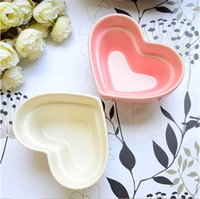 Wholesale 1PC ceramic Plate China dinnerware plate relish tray heart shape ice cream salad fruit bowl kitchen tableware tool