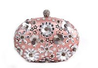 Wholesale Double or single side floral diamond bag fashion exquisite women evening party handbag bridal bling clutch