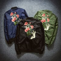 Wholesale Fall New Mens Fashion Flight Bomber Jackets Male Back Embroidery Florales Outerwear Sports Coats Army Green Navy Blue Black