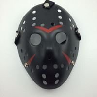 Wholesale Cosplay Costume Red - Black-Red Jason Mask Cosplay Full Face Killer Mask Jason vs Friday Horror Hockey Halloween Costume Scary Mask free shipping