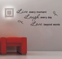 Wholesale Promotion live love laugh letters transprent waterproof vinyl wall quotes decal pvc home decor wall sticker