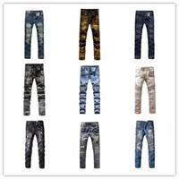 Wholesale Famous brand Balmain men jeans runway coated men designer perfume Balman rock revival jeans Balmain biker true skinny disel jeans men