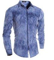 Wholesale mens shirts cotton classic D printing tie dyed dark long sleeved shirt placket new mens short sleeve dress shirts high quality shirt