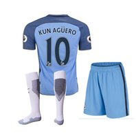Wholesale DHL jersey shorts Manchester kit soccer jersey Aguero City soccer jerseys football jerseys suit shirt