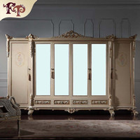 antique wood mirrors - Antique classic furniture baroque wardrobe Italian bedroom furniture luxury hand carved doors wardrobe with mirror