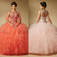 Wholesale Chic masquerade ball gowns scoop neck beaded cheap prom dresses ruffles organza floor length quinceanera dresses lace up back vestidos