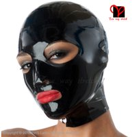 Wholesale Latex Hoods Latex Masks Zipper open mouth eyes nose hole Headgear Fetish Bondage face cover Rubber Hoods Rubber Masks catstuit