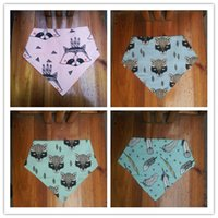 animal print binder - 2016 ins hot infant baby bibs triangular fox binder children pure cotton double deck burp cloths baby cute pinafores