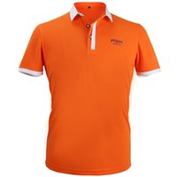 Wholesale S040 New Golf Apparel Men s Fashion Short Sleeved Polo Shirt Summer Breathable Dry Fit Running Sport Casual Shirts Orange