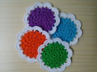 Wholesale 2016 New Arrival Set of Matching Handcraft Crochet Flower Shaped Doilies Placemats Coasters Kitchen Table Decoration Accessories