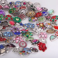 Wholesale New High Quality Luxurious Rhinestones Metal Snap Buttons Mixed Styles DIY Snaps Charms Jewelry accessories