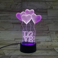 7 colorea la lámpara del LED para la batería de acrílico del AA del panel de la luz de la ilusión 3D o la venta al por mayor de la fábrica de la CC 5V libera el envío