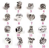 Wholesale 10Pcs Hole Size mm DIY Rose Crowns Bow Heart Hollow Out Beads Beads Fit European Charm Bracelet Jewelry April Style